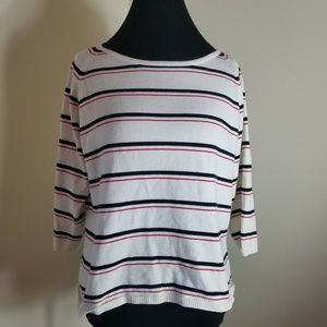 Emma James White Shirt With Red And Blue Stripes